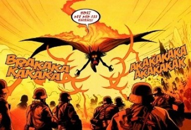 Punching Nazis is cool, but back in the day, Satana was lighting them on fire. (Art by Kev Walker)