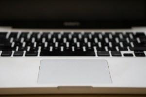 Closeup of MacBook Pro trackpad