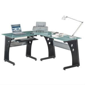 Deluxe Tempered Frosted Glass L Shaped Corner Desk With Pull Out Keybaord Panel
