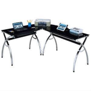 Techni Mobili Hip Black Glass Corner Computer Desk
