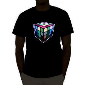 Emazing Lights Rubiks Cube Sound Activated Light Up Rave Tee