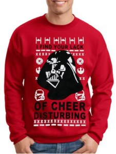 Star Wars Ugly Christmas Sweater Darth Vader Red I Find Your Lack Of Cheer Disturbing
