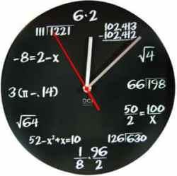 dci-matte-black-powder-coated-metal-mathematics-blackboard-pop-quiz-clock