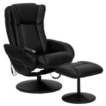 Massaging Black Leather Recliner And Ottoman