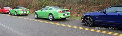 Line of Ford Mustangs