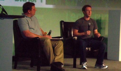Mark Zuckerberg being interviewed by Michael Arrington at TechCrunch Disrupt SF 2012