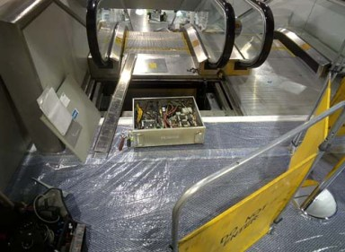 Getting the escalator ready for the show