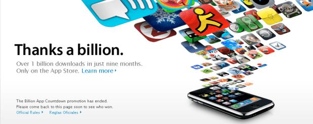 Apple App Store : 1 milliard de téléchargements