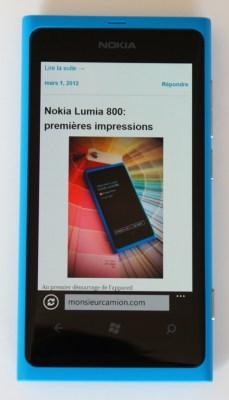 Naviguer le web sous Windows Phone est un délice avec le Nokia Lumia 800
