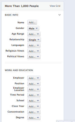 Grille de recherche Facebook