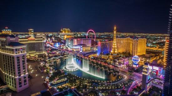"""Vue aérienne de la """"Strip"""" de Las Vegas"""