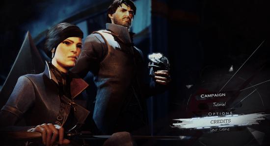 L'écran du menu principal.   Dishonored 2