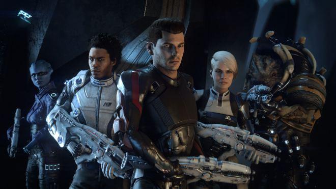Ryder en compagnie de quelques uns de ses co-équipiers | Mass Effect Andromeda