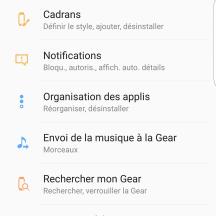 Paramètre | Samsung Gear App