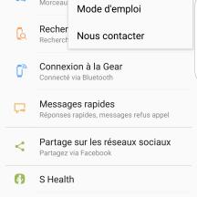 Aide - Paramètre | Samsung Gear App