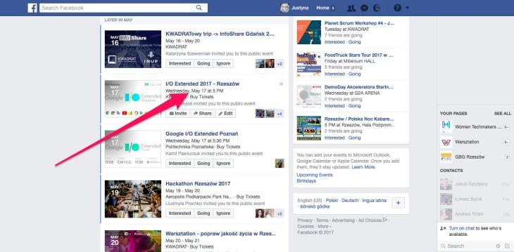 Geek Cat - Jak dodać wydarzenia z Facebooka do kalendarza Google - wydarzenia nadchodzące