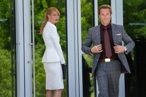 Pepper (Gwyneth Paltrow) is not entirely pleased to see her former employer, Aldrich Killian (Guy Pearce), CEO of AIM.
