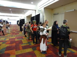 Day Three: cosplayer line up for contest registration.