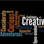 Word cloud of character traits popular with the GeekMoms. Graph by Ariane Coffin using Wordle.