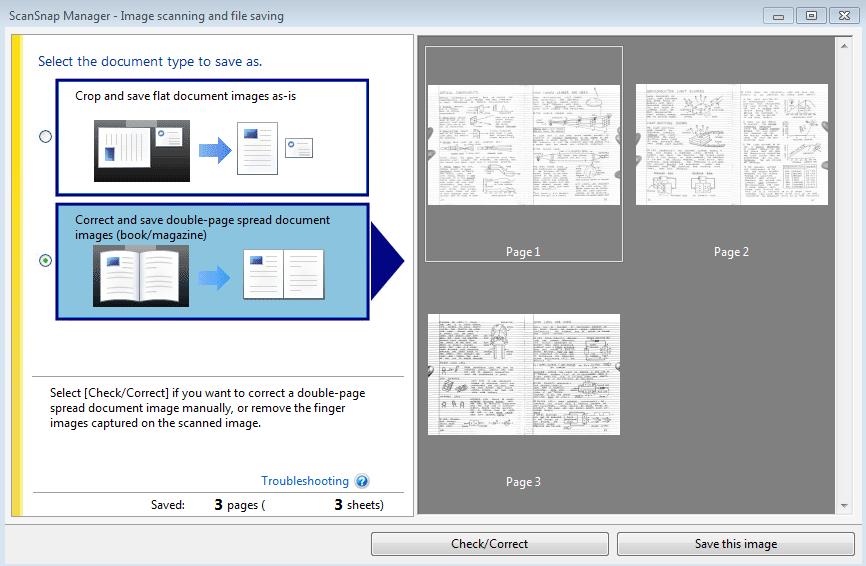 Flattened book scan