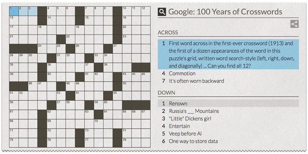 Google Doodle crossword puzzle