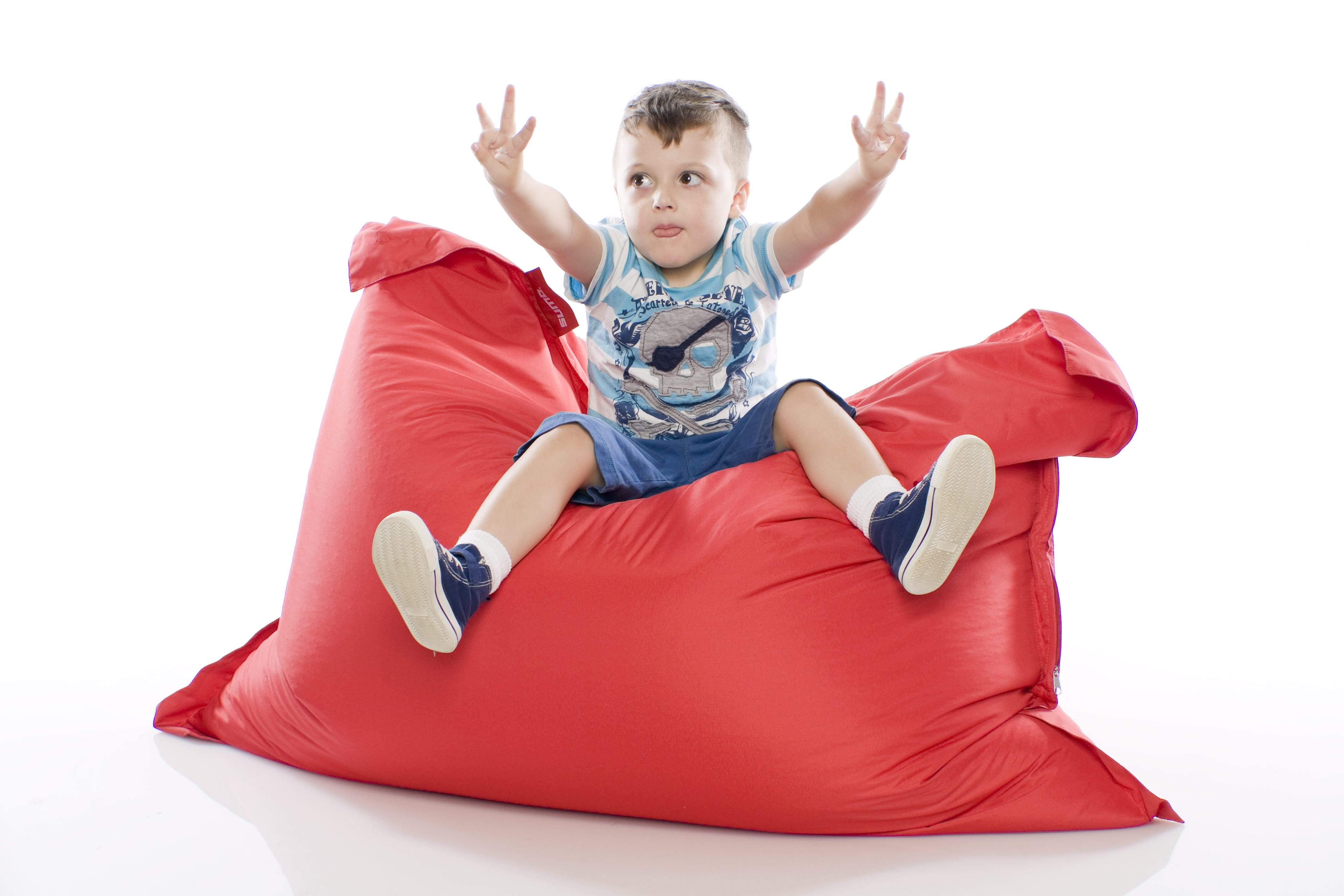Kid on a Sumo bean bag chair