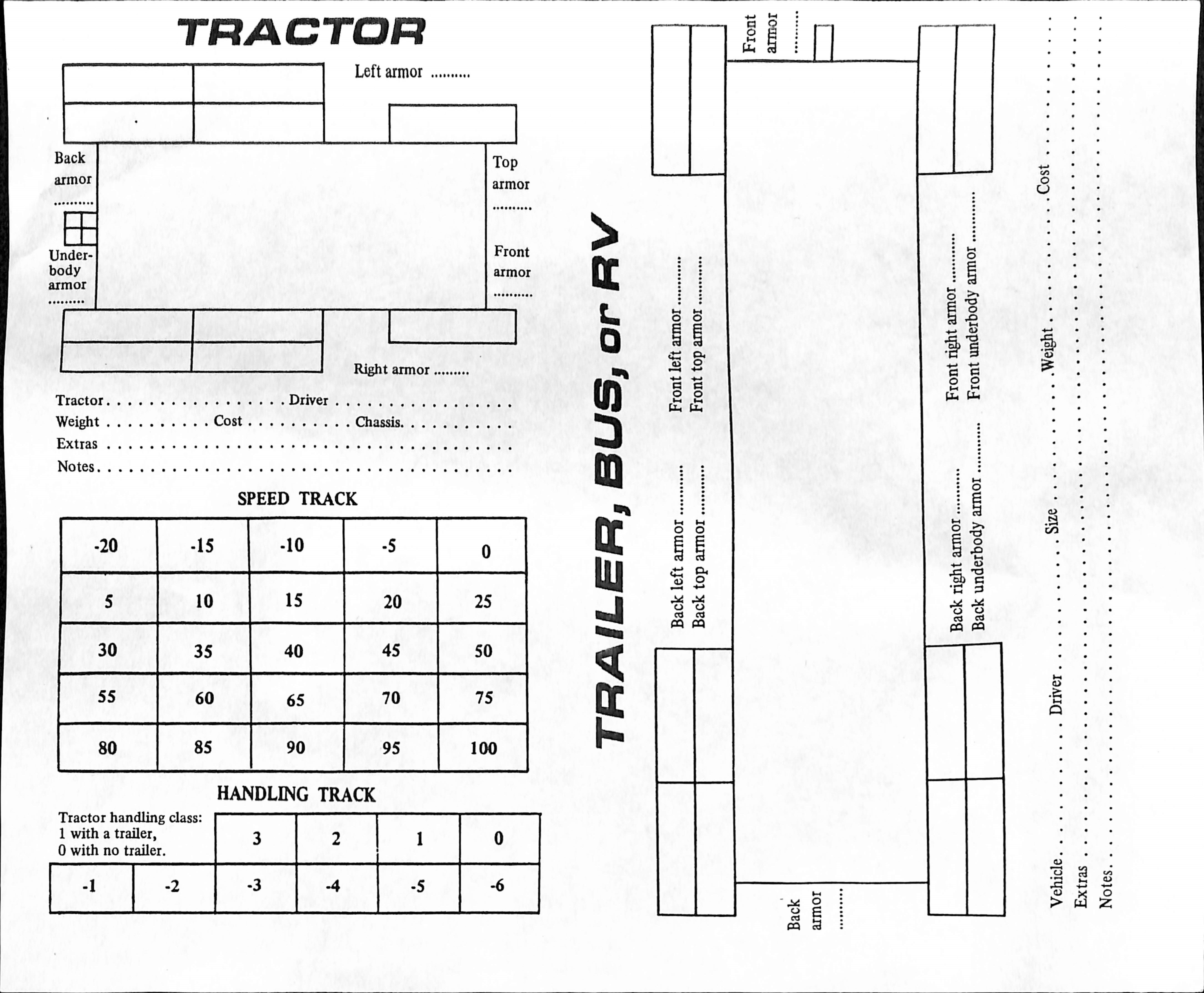 Tractor Trailer sheet