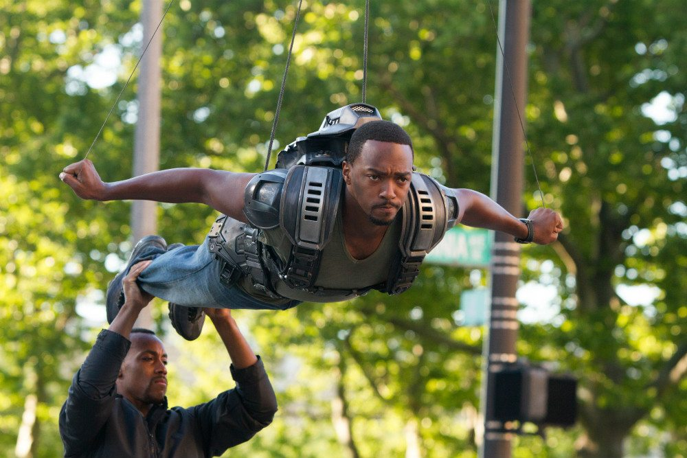 "Anthony Mackie as The Falcon, getting ready to ""fly."""