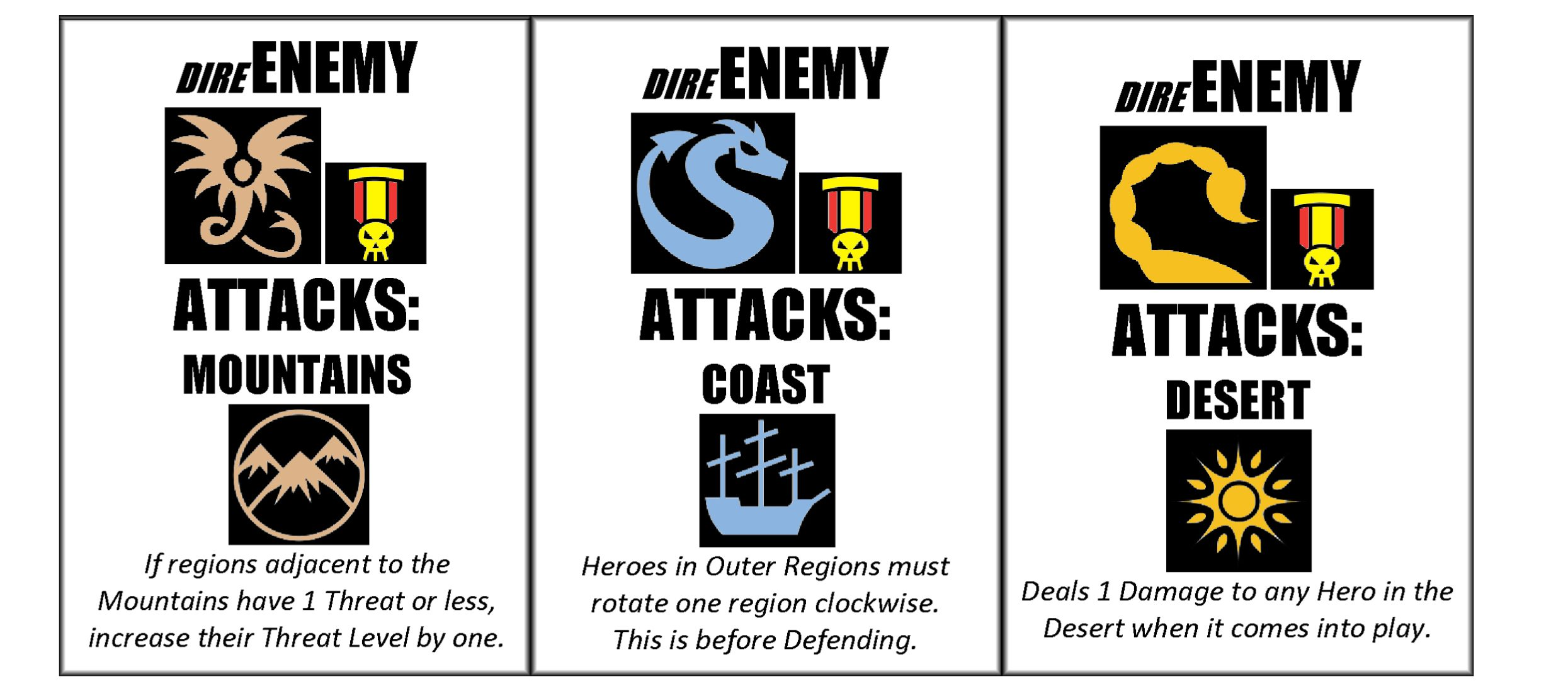 Tiny Epic Defenders - dire enemies
