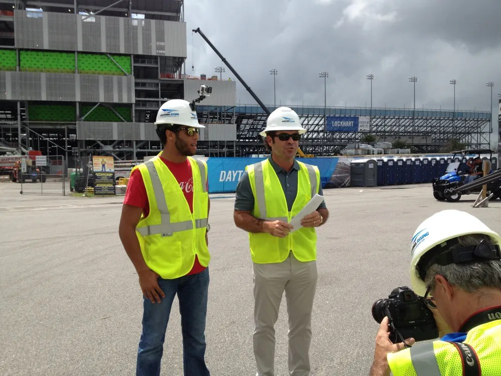 Joie Chitwood II and driver Darrell Wallace Jr on-site.