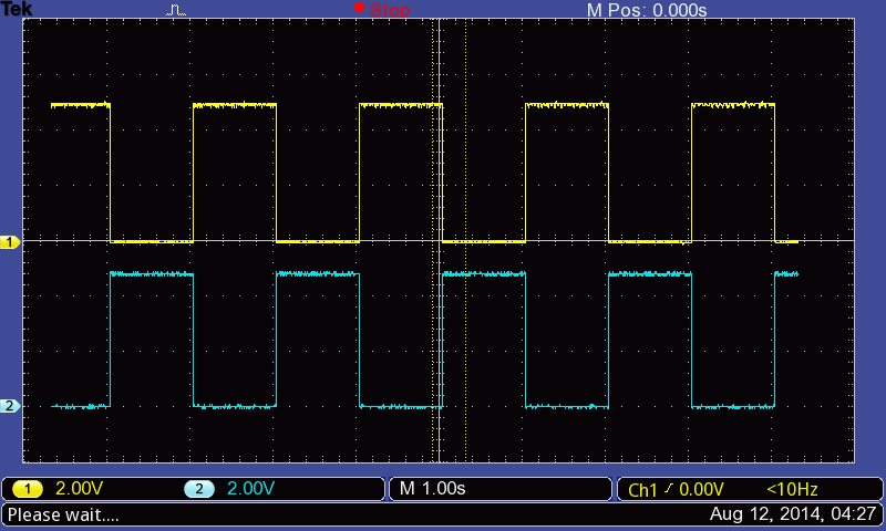 Blinking two LEDs on the Arduino in opposite phase.