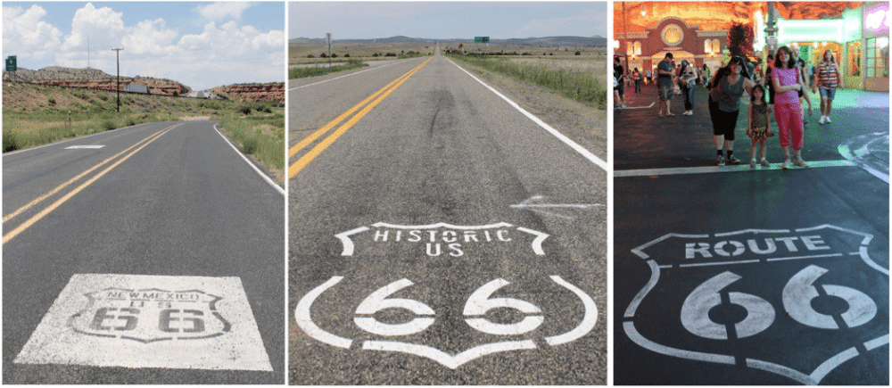 "Historic ""shield"" stamps mark the long, lonely stretches along original stretches of Route 66 (sometimes I-40), but the Cars Land Route 66 stamp (far right) was a little more crowded."