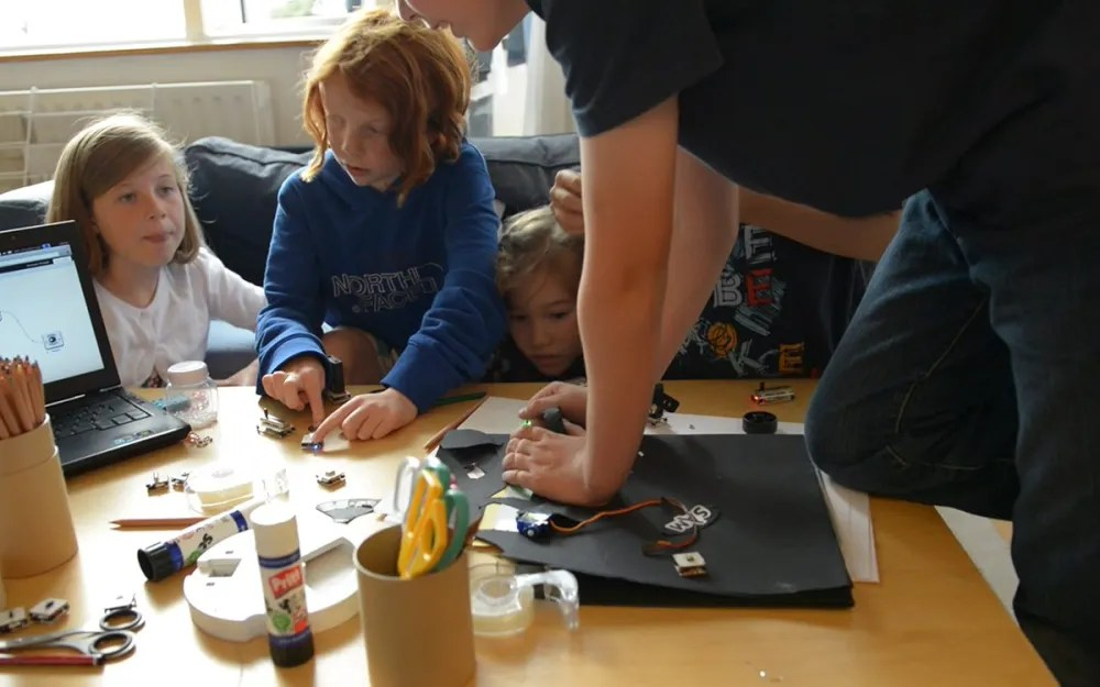Kids testing out the SAM prototypes