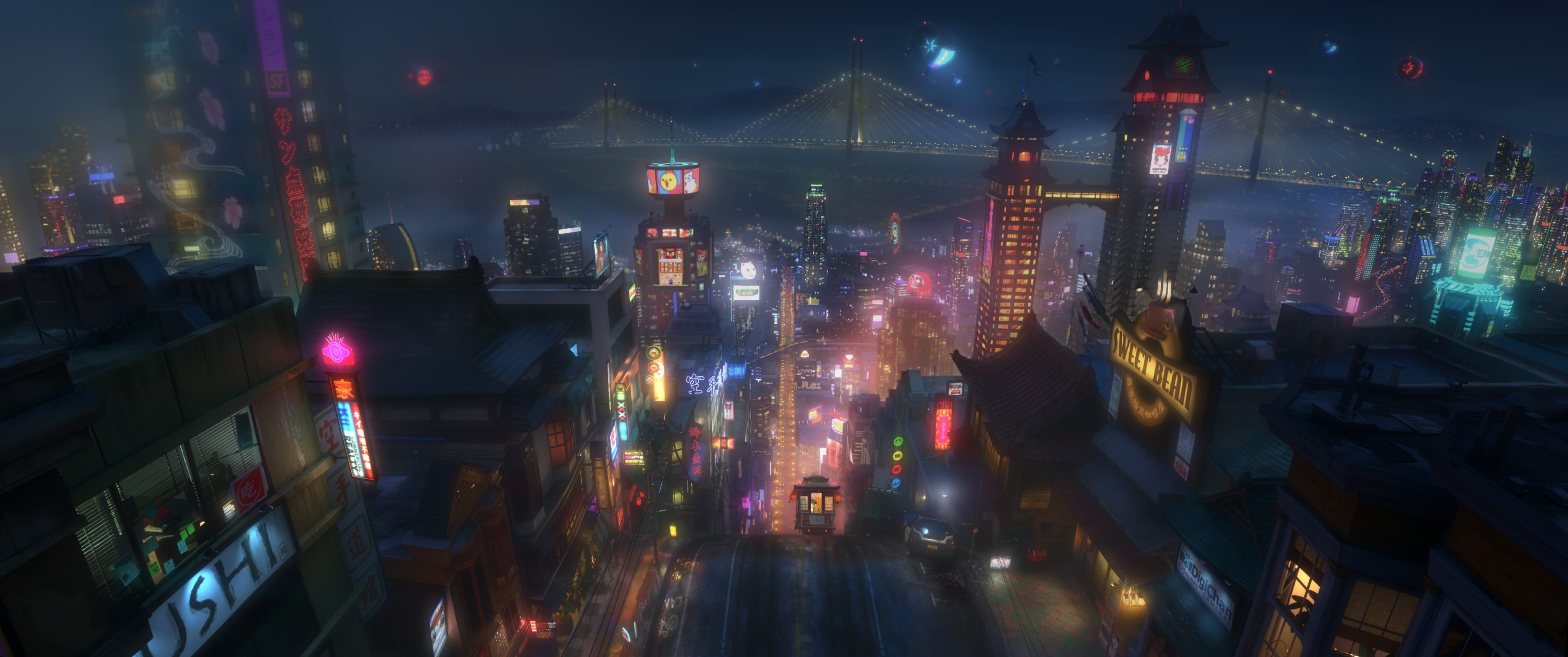 "Concept art: The high-tech city of San Fransokyo is home to brilliant robotics prodigy Hiro Hamada and his team of first-time crime fighters in ""Big Hero 6"". ©2013 Disney. All Rights Reserved."