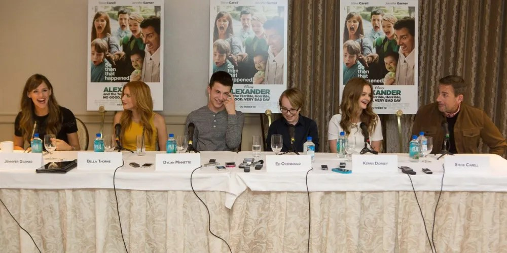 The cast of Alexander and the Terrible, Horrible, No Good, Very Bad Day assembles to meet the press.