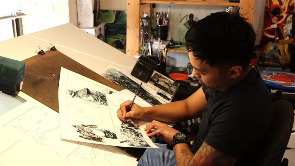 Artist Francis Manapul at work in The RAID Studio. Photo:  AT&T U-verse Buzz.