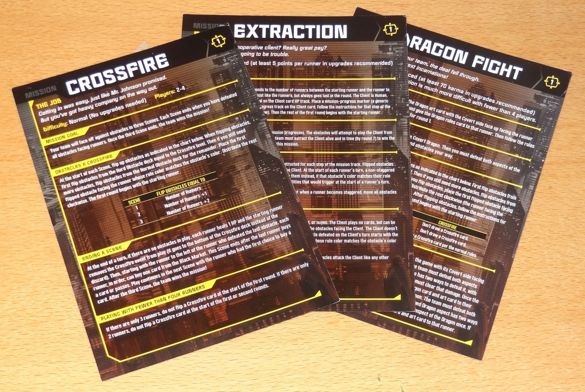 Crossfire Mission cards