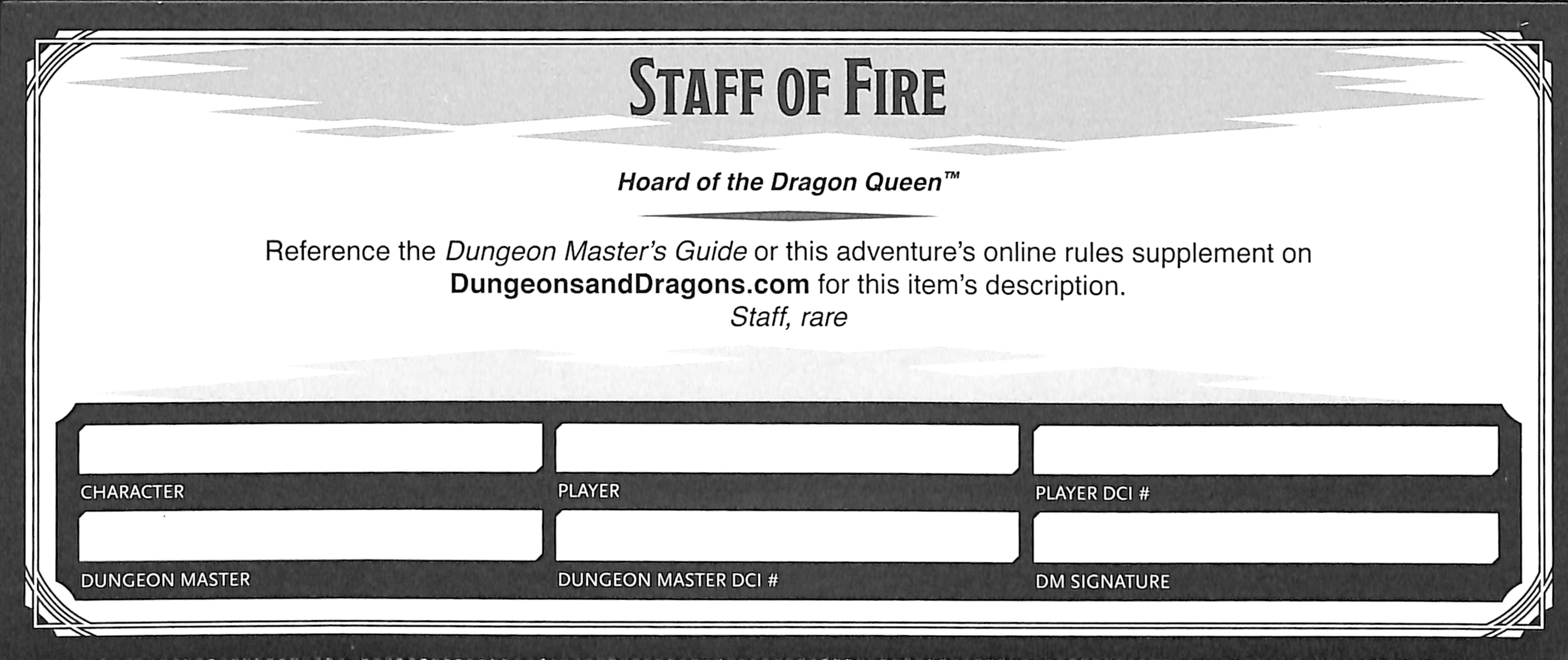 Staff of Fire Certificate