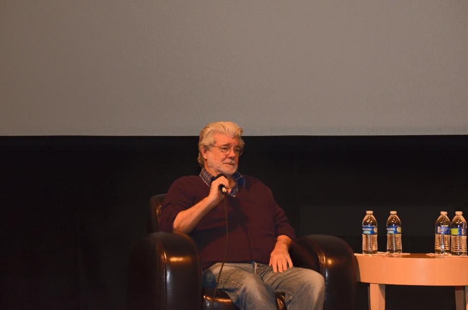 George Lucas answers questions from the audience. Photo courtesy of Merlot Mommy