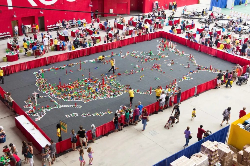 A photo of the Creation Nation exhibit shot from above; this is a map of the US that is being filled with the creations of attendees