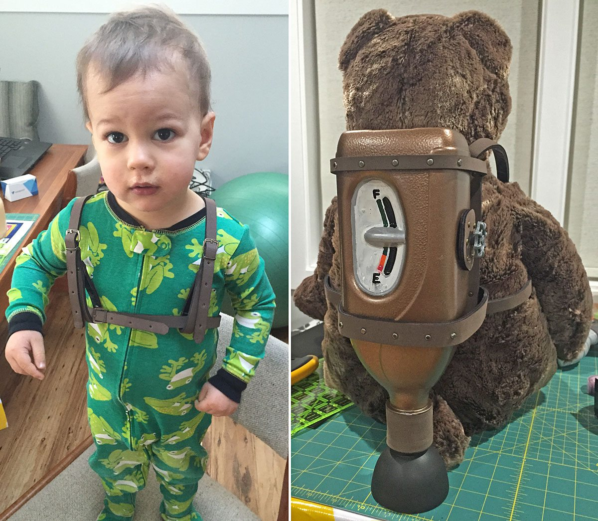 Captain Owen trying on his finished jetpack and Castle Bear modelling it. Photo by Will James.