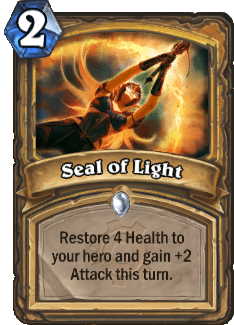 "The card ""Seal of Light"" from Hearthstone."