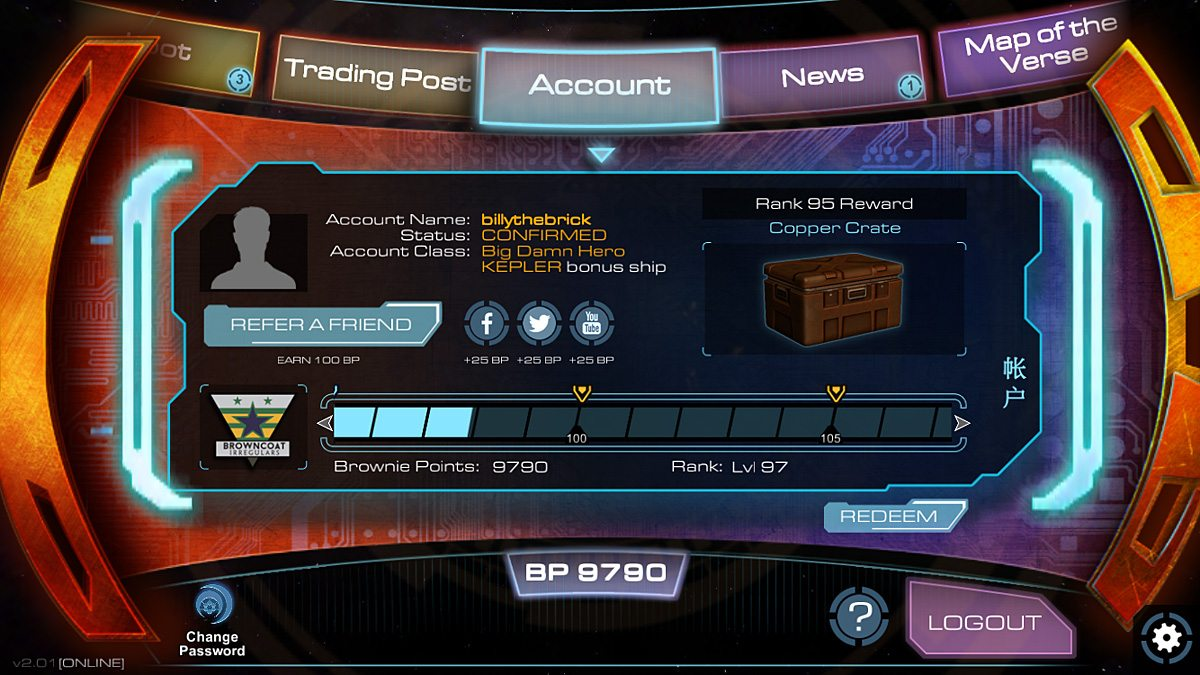 Track your rank and view your account.