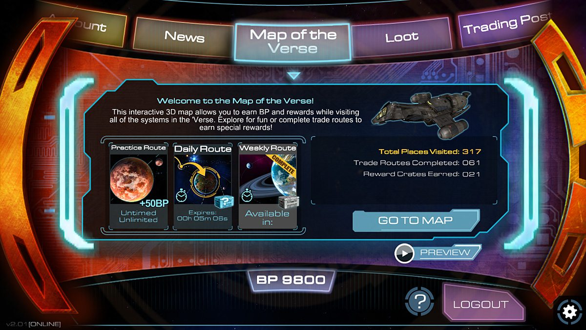 The Map of the Verse is the central feature of the companion app.