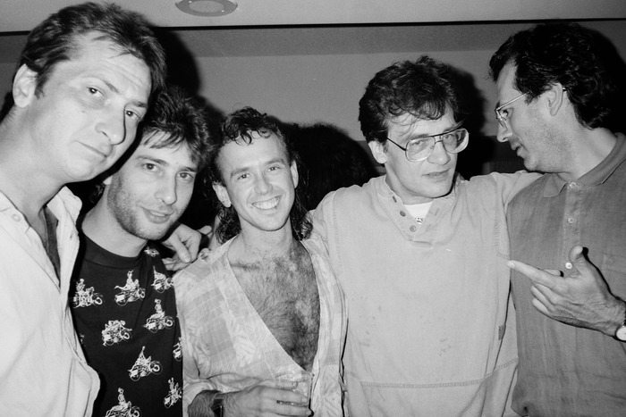 Frank Miller, Neil Gaiman, Bill Sienkiewicz, Berni Wrightson and Dave Gibbons at the 1991 San Diego Comic-Con. Photo by Jackie Estrada, used by permission.