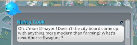 Nancy has a chirp disparaging farms.