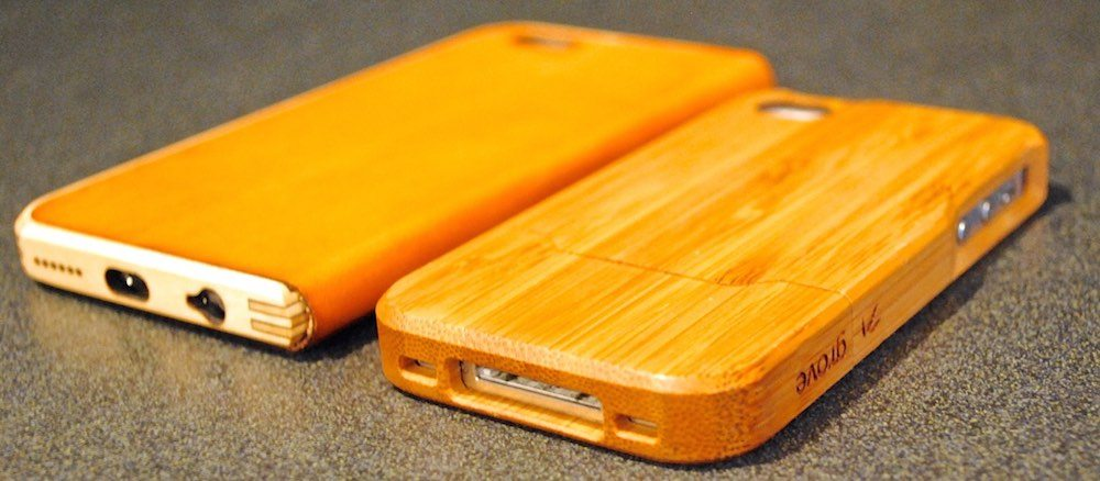 A pair of Grovemade iPhone cases