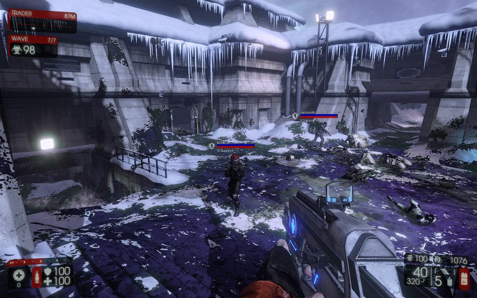 An open space in the game, covered in blood that has been turned blue for this article.