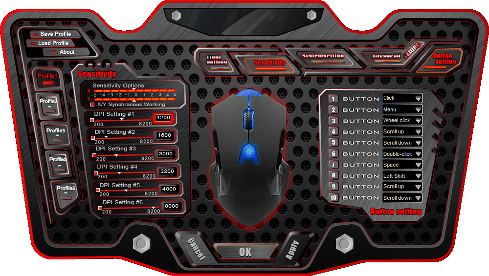 Screenshot of the gaming mouse program interface.