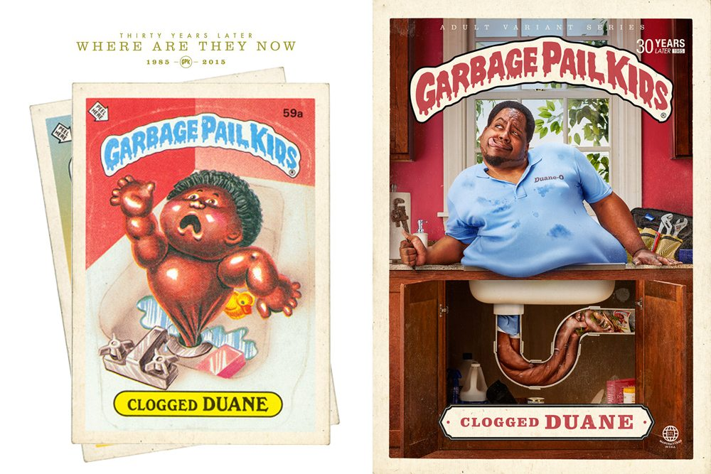Clogged Duane Garbage Pail Kid Then and Now